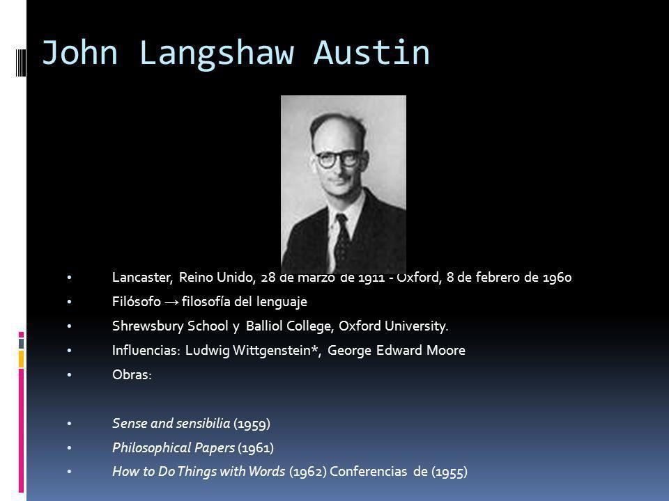John Langshaw Austin Lancaster, Reino Unido, 28 de marzo de 1911 - Oxford, 8 de febrero de 1960 Filósofo filosofía del lenguaje Shrewsbury School y Balliol College, Oxford University.