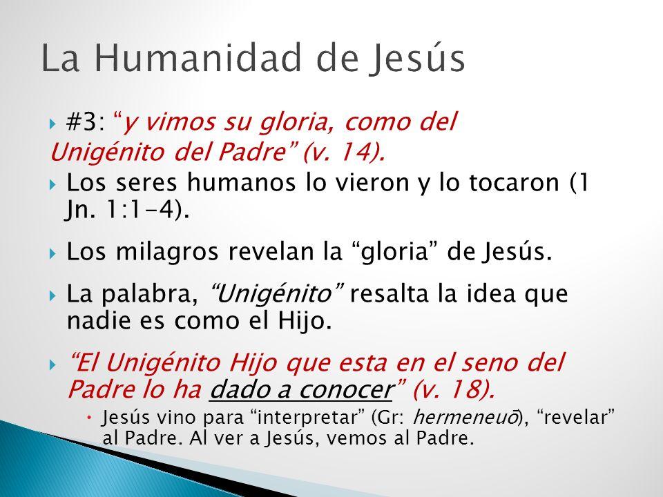 #3: y vimos su gloria, como del Unigénito del Padre (v. 14). Los seres humanos lo vieron y lo tocaron (1 Jn. 1:1-4). Los milagros revelan la gloria de