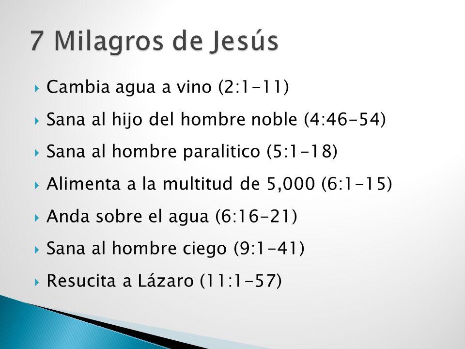 Cambia agua a vino (2:1-11) Sana al hijo del hombre noble (4:46-54) Sana al hombre paralitico (5:1-18) Alimenta a la multitud de 5,000 (6:1-15) Anda s
