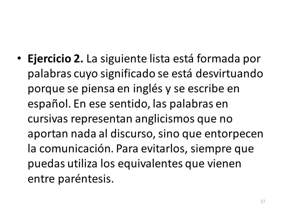 Ejercicio 2. La siguiente lista está formada por palabras cuyo significado se está desvirtuando porque se piensa en inglés y se escribe en español. En