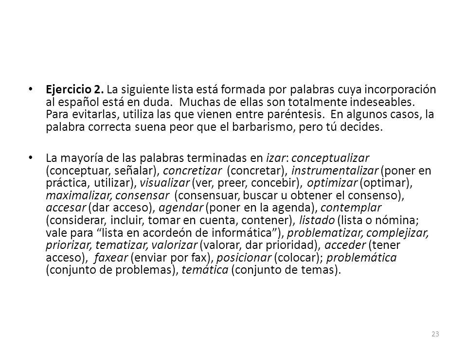 Ejercicio 2. La siguiente lista está formada por palabras cuya incorporación al español está en duda. Muchas de ellas son totalmente indeseables. Para