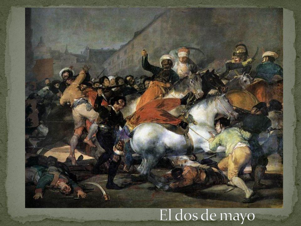 Napoleón invadió a España y puso a su hermano José en el trono. Al pueblo español no le gustaba, y había una rebellón. Goya pintó lo que vio en las ca