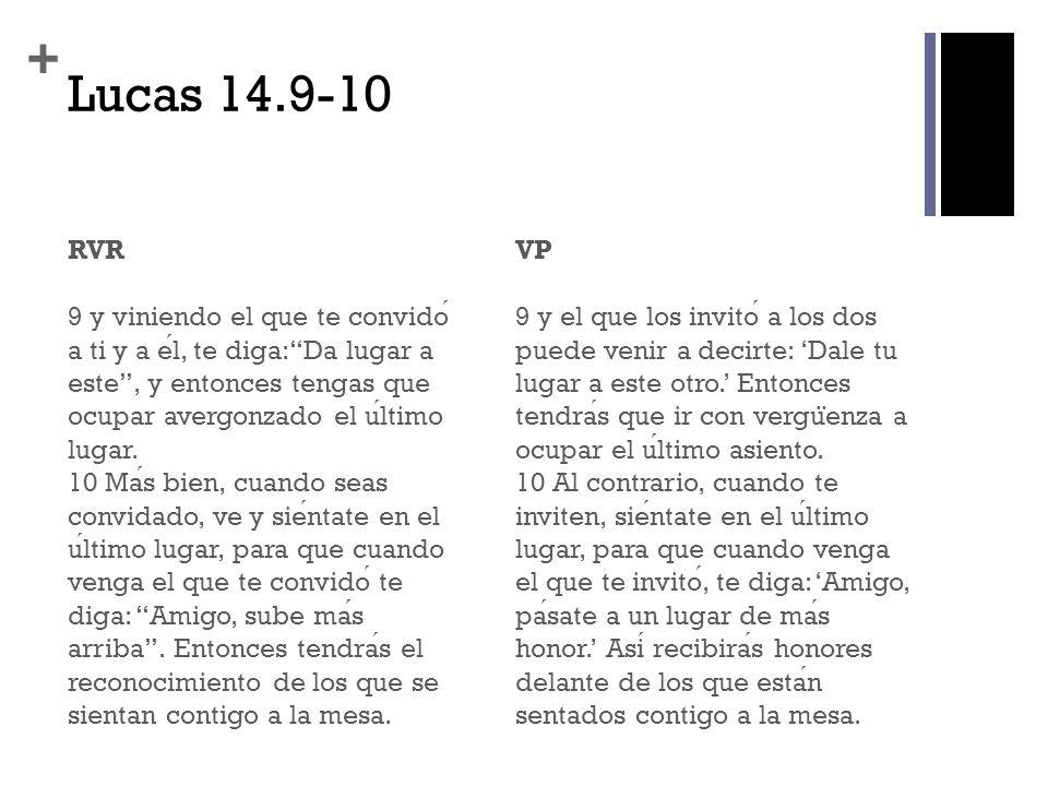 + Lucas 14.11-12 RVR 11 Cualquiera que se enaltece sera humillado, y el que se humilla sera enaltecido».