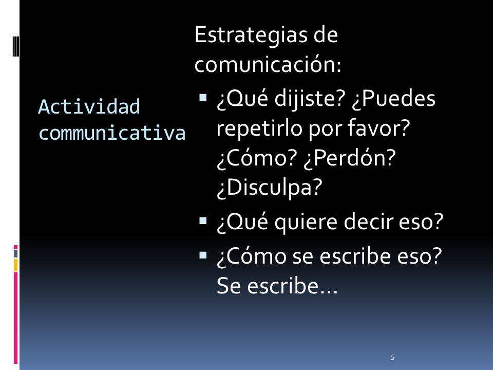 Actividad communicativa Estrategias de comunicación: ¿Qué dijiste? ¿Puedes repetirlo por favor? ¿Cómo? ¿Perdón? ¿Disculpa? ¿Qué quiere decir eso? ¿Cóm