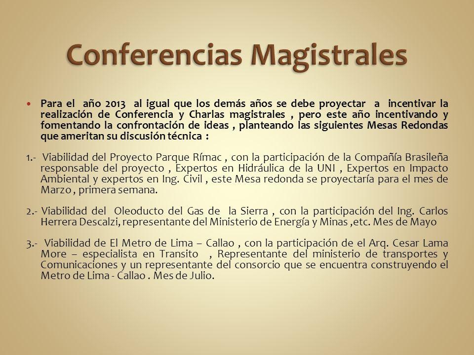Para el año 2013 al igual que los demás años se debe proyectar a incentivar la realización de Conferencia y Charlas magistrales, pero este año incenti