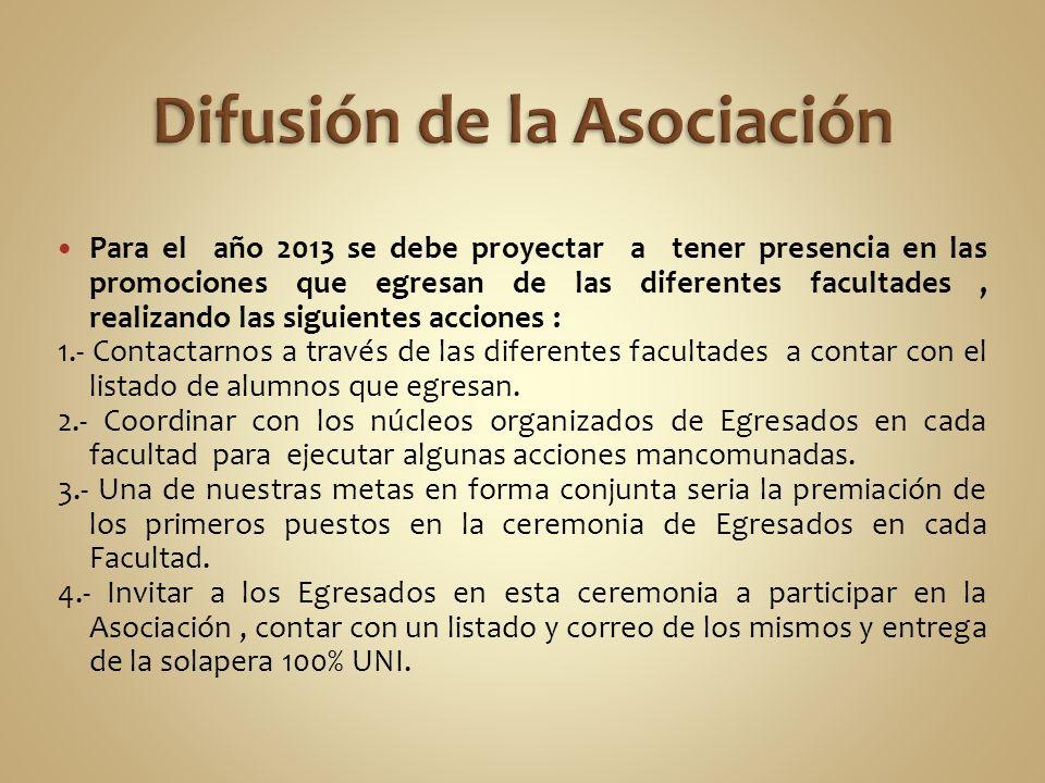Para el año 2013 se debe proyectar a tener presencia en las promociones que egresan de las diferentes facultades, realizando las siguientes acciones :