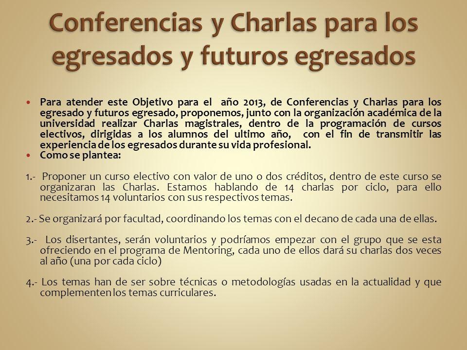 Para atender este Objetivo para el año 2013, de Conferencias y Charlas para los egresado y futuros egresado, proponemos, junto con la organización aca