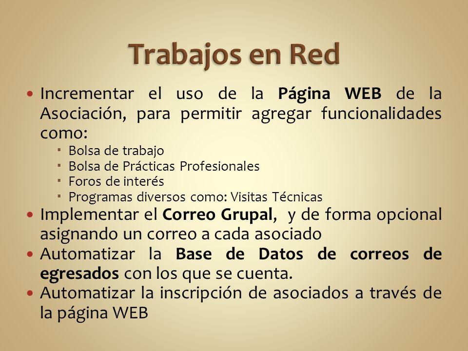 Incrementar el uso de la Página WEB de la Asociación, para permitir agregar funcionalidades como: Bolsa de trabajo Bolsa de Prácticas Profesionales Fo