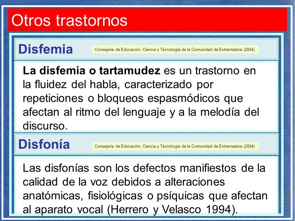 Disfemia Otros trastornos La disfemia o tartamudez es un trastorno en la fluidez del habla, caracterizado por repeticiones o bloqueos espasmódicos que