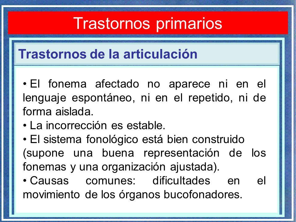 Trastornos de la articulación Trastornos primarios El fonema afectado no aparece ni en el lenguaje espontáneo, ni en el repetido, ni de forma aislada.