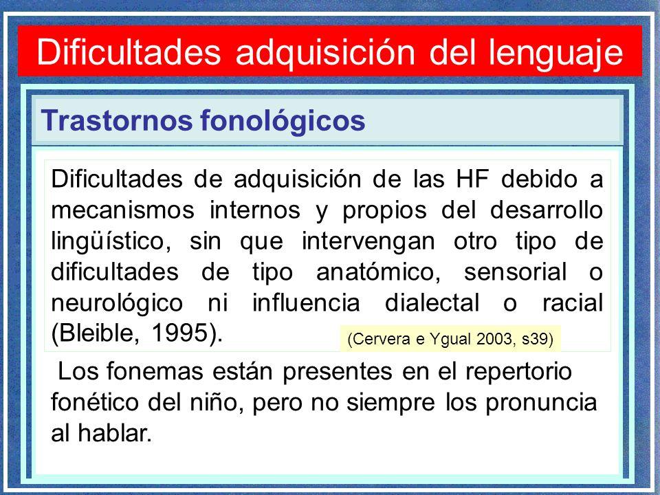Trastornos fonológicos Dificultades adquisición del lenguaje Dificultades de adquisición de las HF debido a mecanismos internos y propios del desarrol