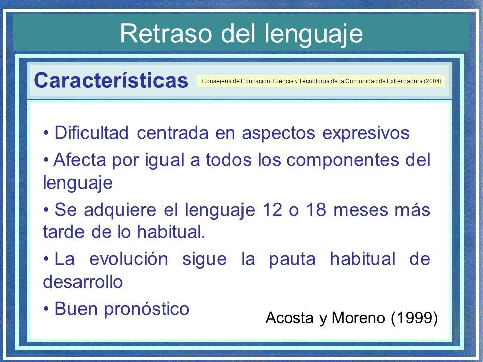 Características Retraso del lenguaje Dificultad centrada en aspectos expresivos Afecta por igual a todos los componentes del lenguaje Se adquiere el l