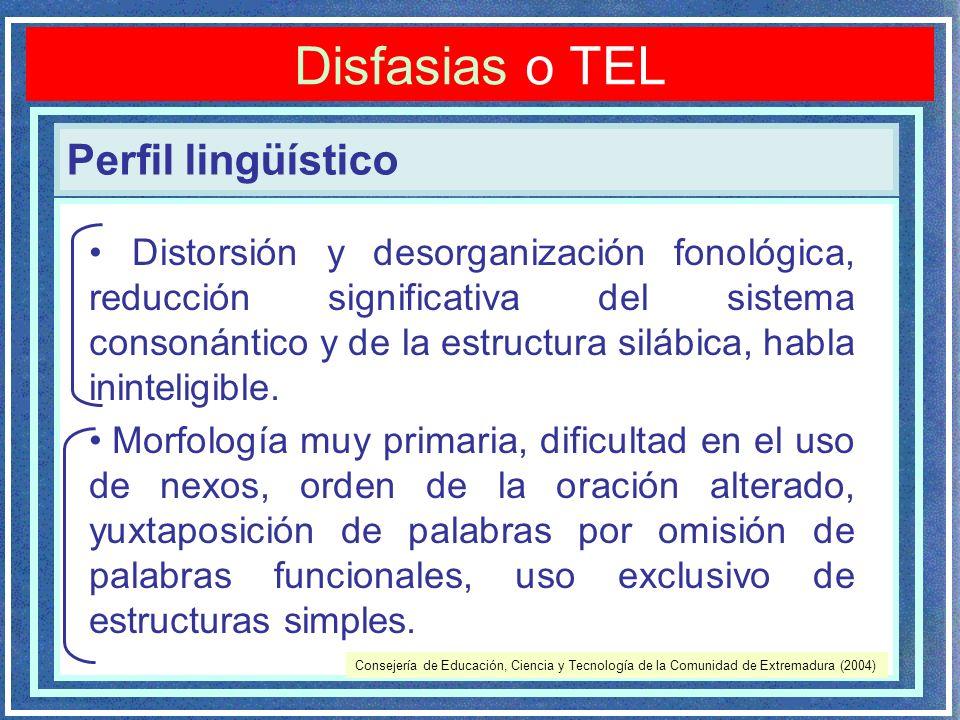 Perfil lingüístico Disfasias o TEL Distorsión y desorganización fonológica, reducción significativa del sistema consonántico y de la estructura silábica, habla ininteligible.