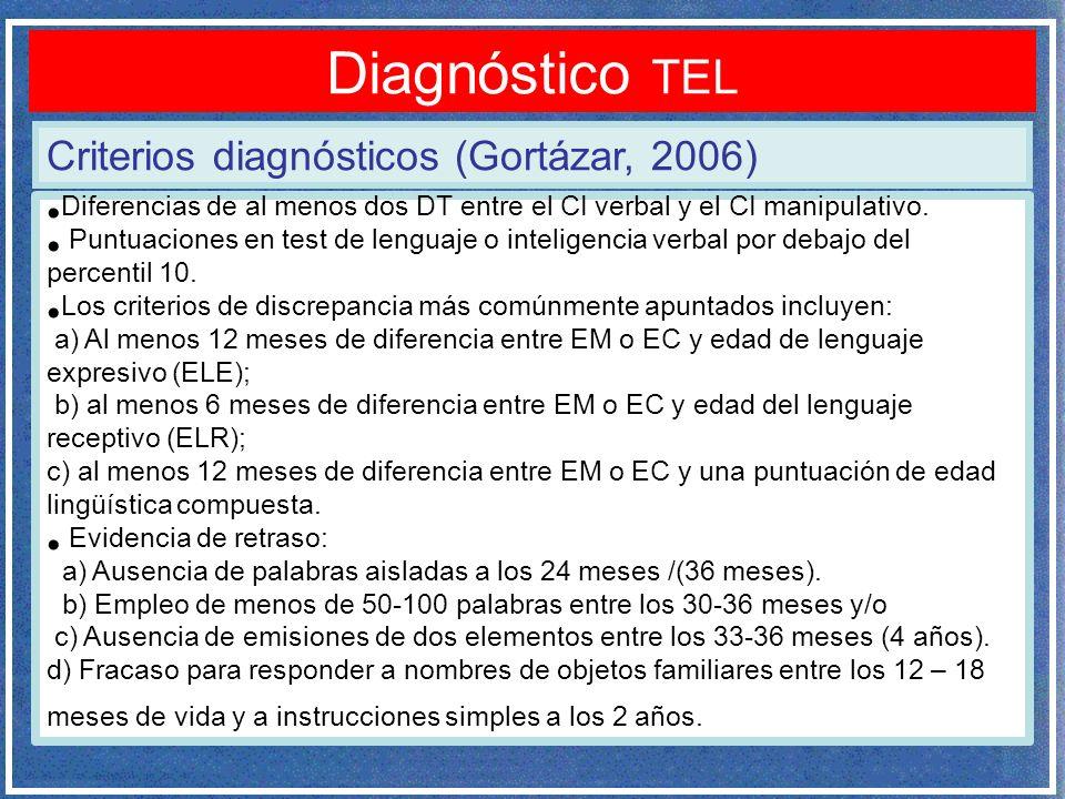 Criterios diagnósticos (Gortázar, 2006) Diagnóstico TEL Diferencias de al menos dos DT entre el CI verbal y el CI manipulativo. Puntuaciones en test d