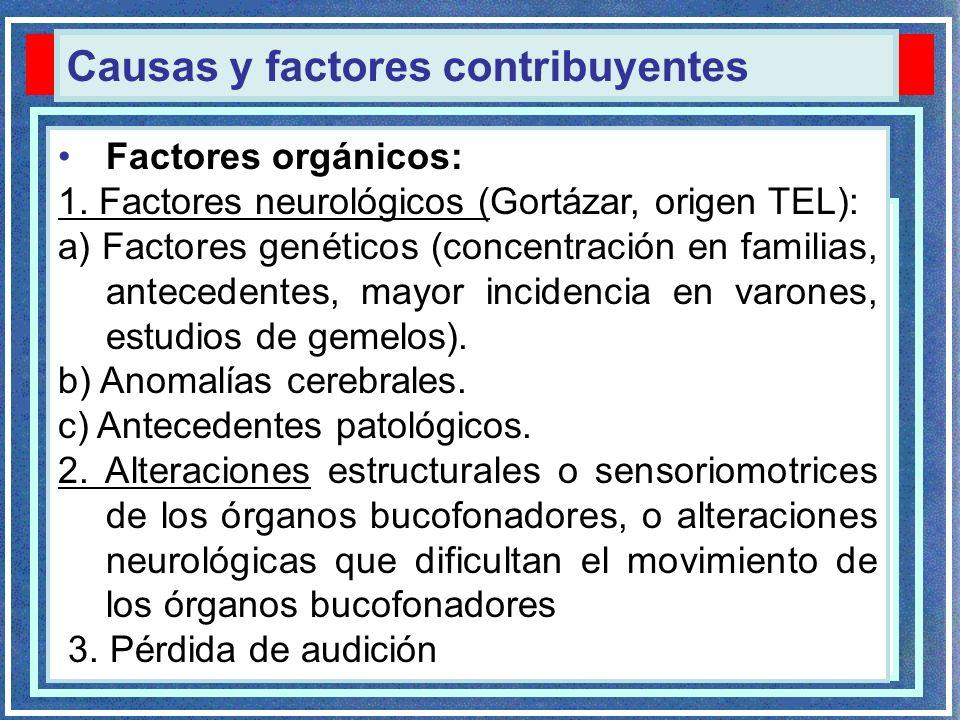 Dificultades en la adquisición del lenguaje Factores orgánicos: 1. Factores neurológicos (Gortázar, origen TEL): a) Factores genéticos (concentración