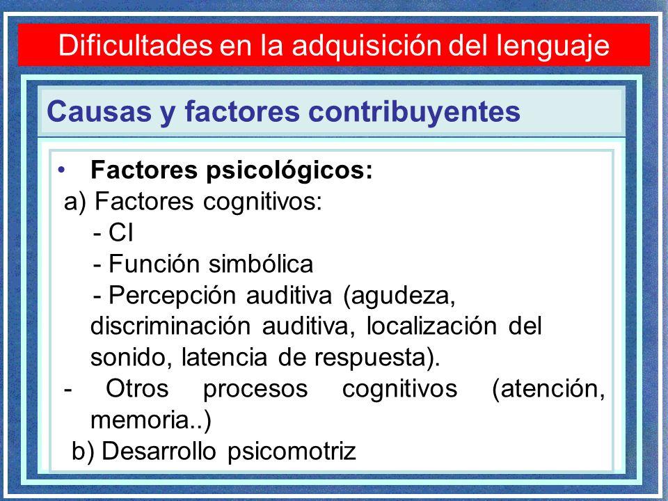 Dificultades en la adquisición del lenguaje Factores psicológicos: a) Factores cognitivos: - CI - Función simbólica - Percepción auditiva (agudeza, discriminación auditiva, localización del sonido, latencia de respuesta).