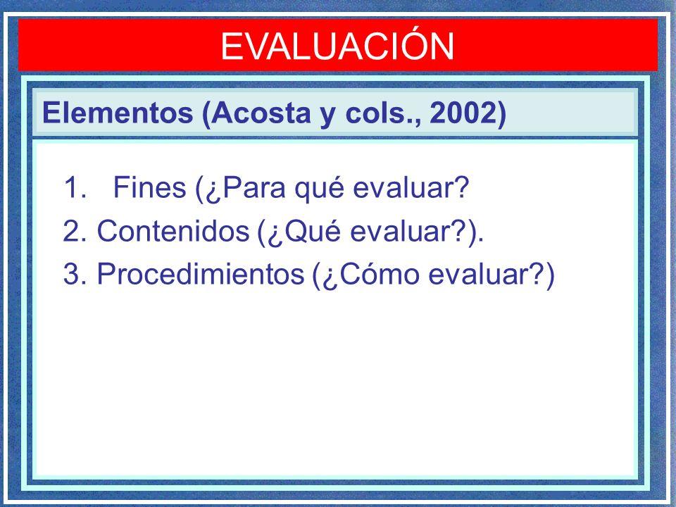 Elementos (Acosta y cols., 2002) EVALUACIÓN 1. Fines (¿Para qué evaluar? 2. Contenidos (¿Qué evaluar?). 3. Procedimientos (¿Cómo evaluar?)