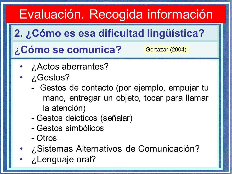 Evaluación. Recogida información 2. ¿Cómo es esa dificultad lingüística? ¿Cómo se comunica? ¿Actos aberrantes? ¿Gestos? - Gestos de contacto (por ejem
