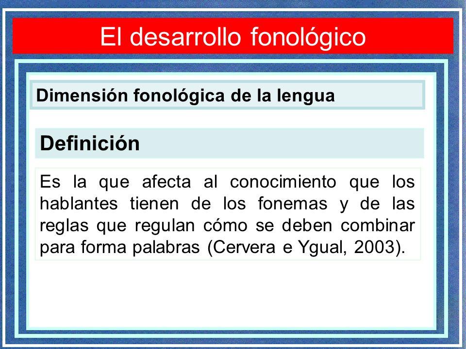 Definición Es la que afecta al conocimiento que los hablantes tienen de los fonemas y de las reglas que regulan cómo se deben combinar para forma palabras (Cervera e Ygual, 2003).