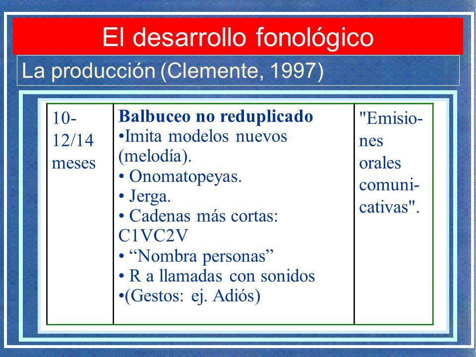 El desarrollo fonológico La producción (Clemente, 1997) 10- 12/14 meses Balbuceo no reduplicado Imita modelos nuevos (melodía). Onomatopeyas. Jerga. C