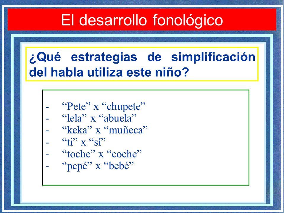 El desarrollo fonológico -Pete x chupete -lela x abuela -keka x muñeca -ti x sí -toche x coche -pepé x bebé ¿Qué estrategias de simplificación del habla utiliza este niño?