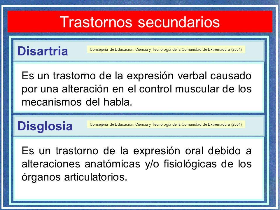Disartria Trastornos secundarios Es un trastorno de la expresión verbal causado por una alteración en el control muscular de los mecanismos del habla.