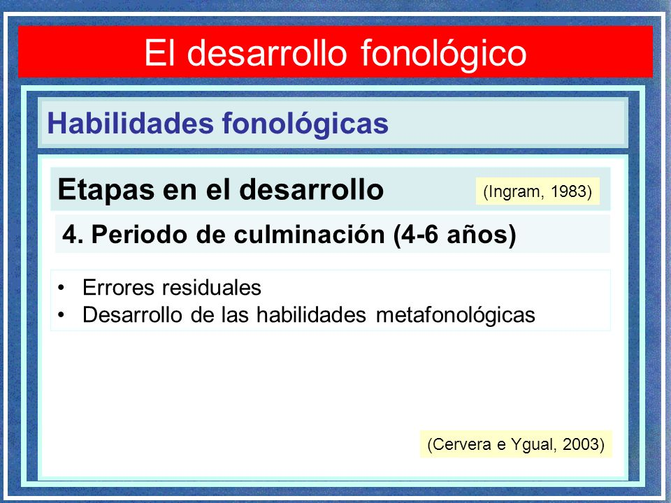 Etapas en el desarrollo Trastornos fonológicos 4. Periodo de culminación (4-6 años) Errores residuales Desarrollo de las habilidades metafonológicas H