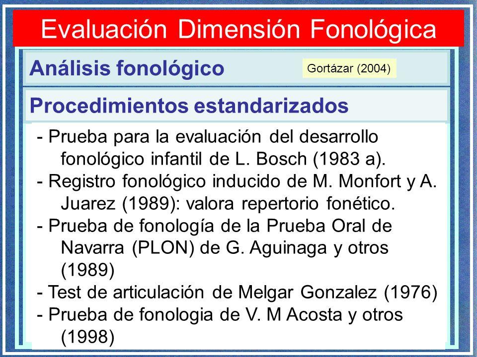 Evaluación Dimensión Fonológica Análisis fonológico Procedimientos estandarizados - Prueba para la evaluación del desarrollo fonológico infantil de L.
