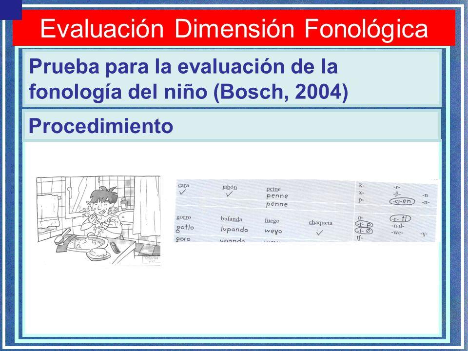 Evaluación Dimensión Fonológica Prueba para la evaluación de la fonología del niño (Bosch, 2004) Procedimiento