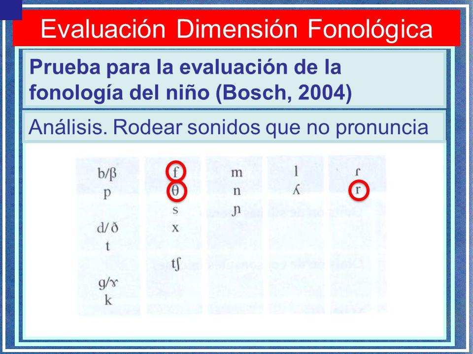 Evaluación Dimensión Fonológica Prueba para la evaluación de la fonología del niño (Bosch, 2004) Análisis. Rodear sonidos que no pronuncia