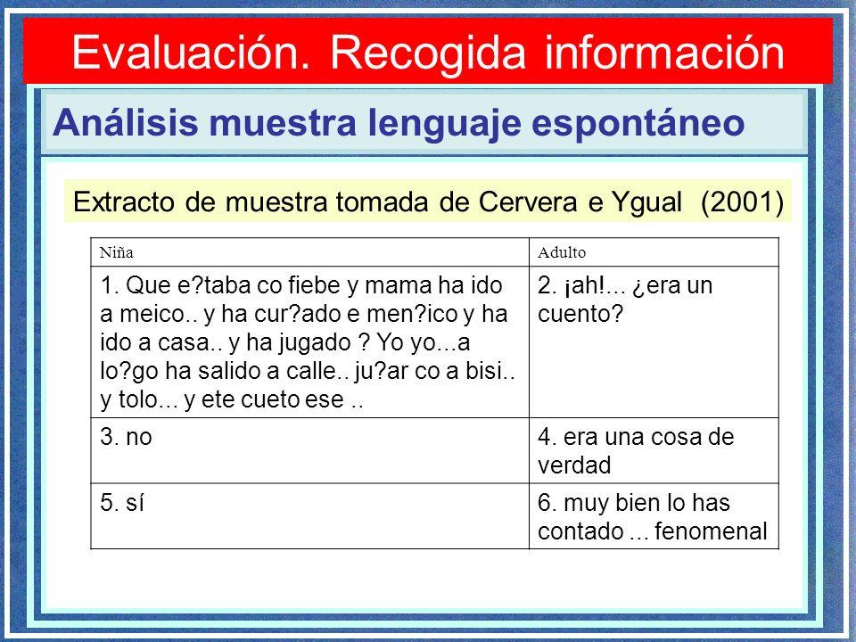 Evaluación. Recogida información Análisis muestra lenguaje espontáneo Extracto de muestra tomada de Cervera e Ygual (2001) NiñaAdulto 1. Que e?taba co