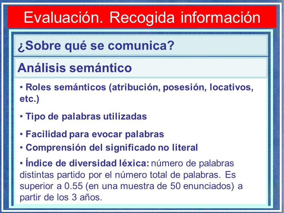 Evaluación.Recogida información ¿Sobre qué se comunica.