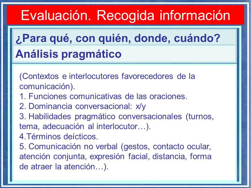 Evaluación. Recogida información ¿Para qué, con quién, donde, cuándo? Análisis pragmático (Contextos e interlocutores favorecedores de la comunicación