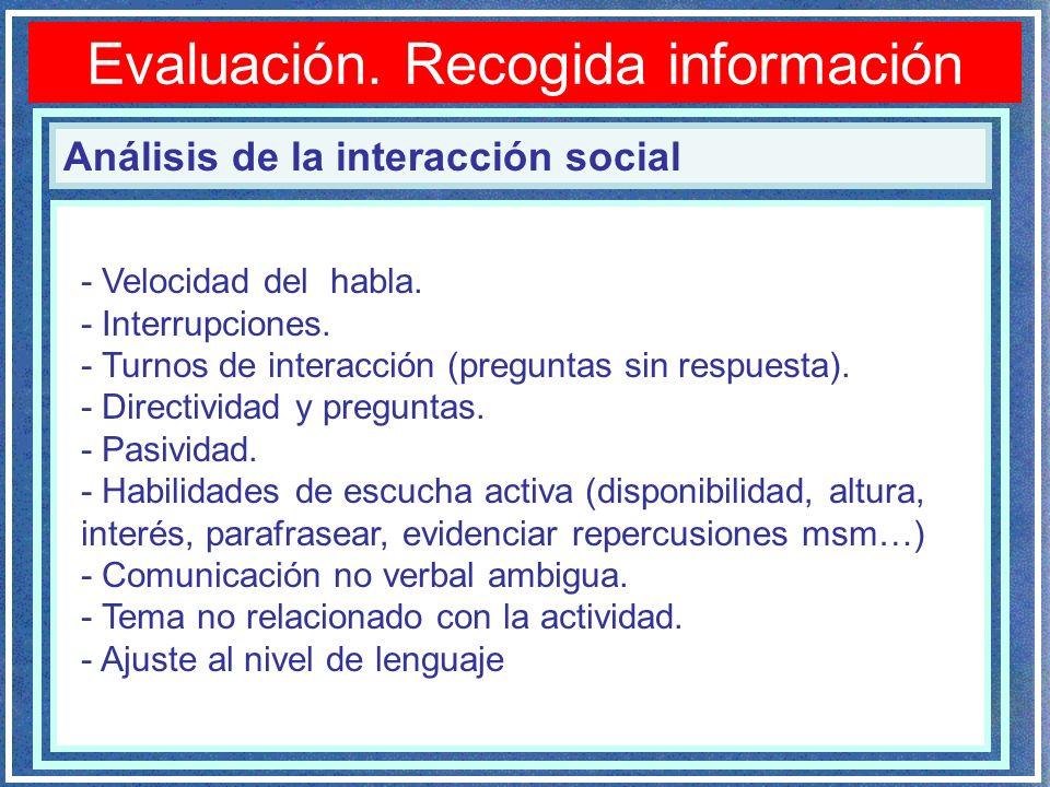 Análisis de la interacción social - Velocidad del habla. - Interrupciones. - Turnos de interacción (preguntas sin respuesta). - Directividad y pregunt
