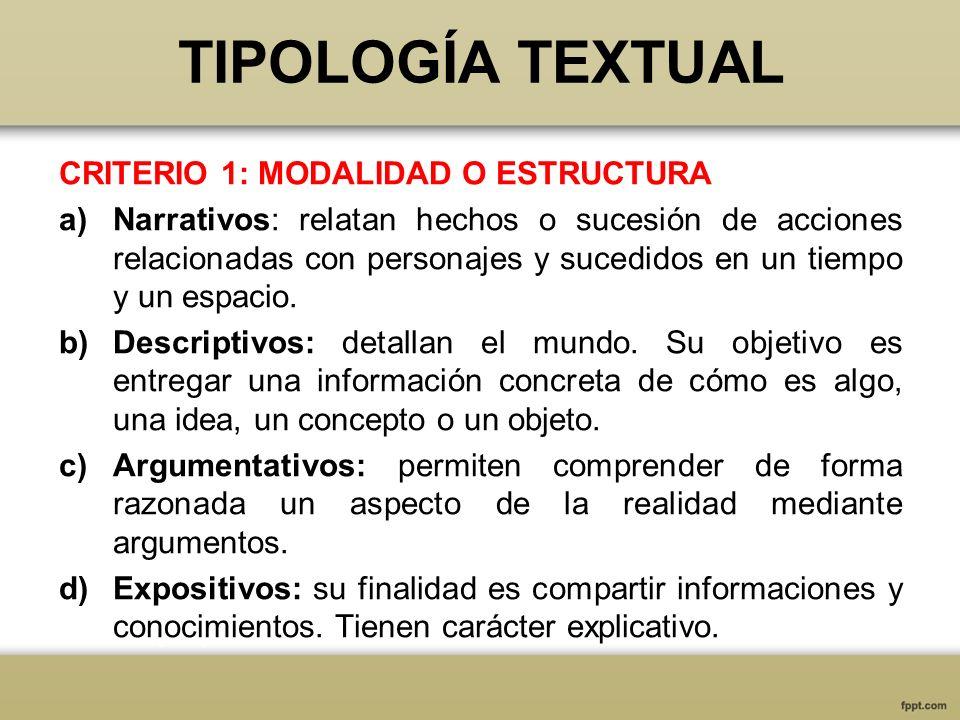 TIPOLOGÍA TEXTUAL CRITERIO 1: MODALIDAD O ESTRUCTURA a)Narrativos: relatan hechos o sucesión de acciones relacionadas con personajes y sucedidos en un