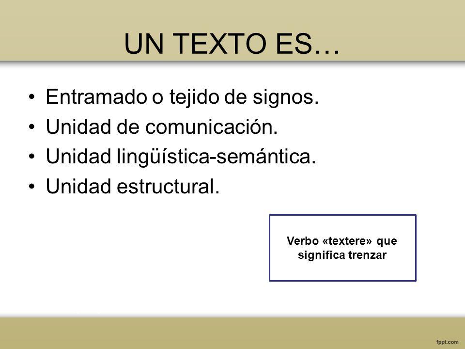 UN TEXTO ES… Entramado o tejido de signos. Unidad de comunicación. Unidad lingüística-semántica. Unidad estructural. Verbo «textere» que significa tre