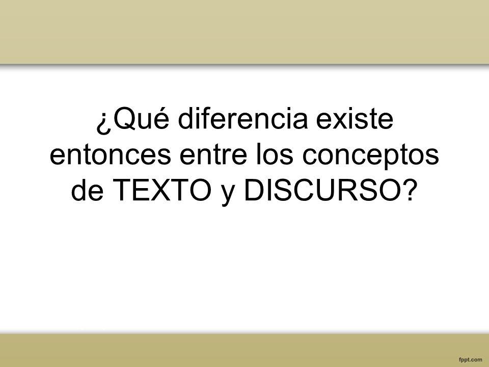 ¿Qué diferencia existe entonces entre los conceptos de TEXTO y DISCURSO?