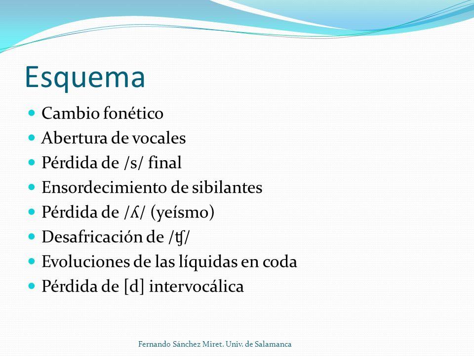 Pérdida de / ʎ / (yeísmo) Hay cuatro resultados posibles: 1) Mantenimiento de la distinción (Castilla (?), Paraguay, Bolivia) 2) Yeísmo con variación (Castilla la Nueva, área andina) 3) Yeísmo (confusión completa) (Andalucía, América) 4) Yeísmo con rehilamiento (sorda o sonora) (Río de la Plata) [ ʎ ] > [ ɟ ], [ ʝ ], [j] (?) > [ ʒ ] > [ ʃ ] Fernando Sánchez Miret.