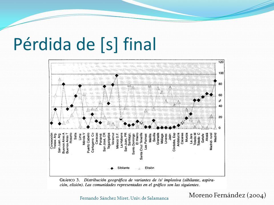 Pérdida de [s] final Moreno Fernández (2004) Fernando Sánchez Miret. Univ. de Salamanca
