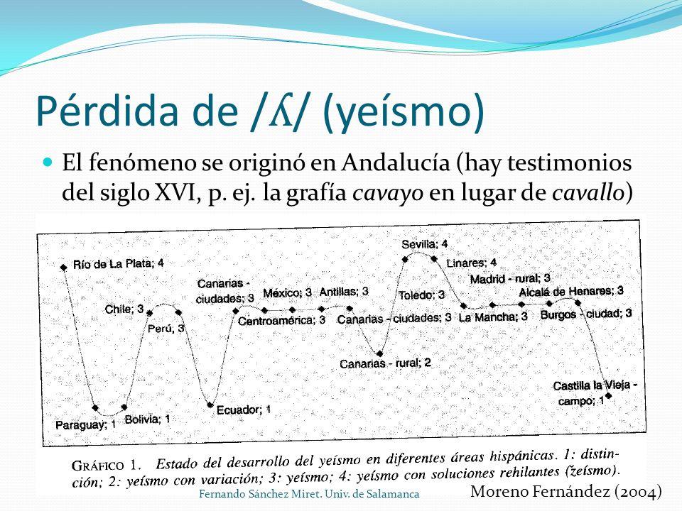 Pérdida de / ʎ / (yeísmo) El fenómeno se originó en Andalucía (hay testimonios del siglo XVI, p.