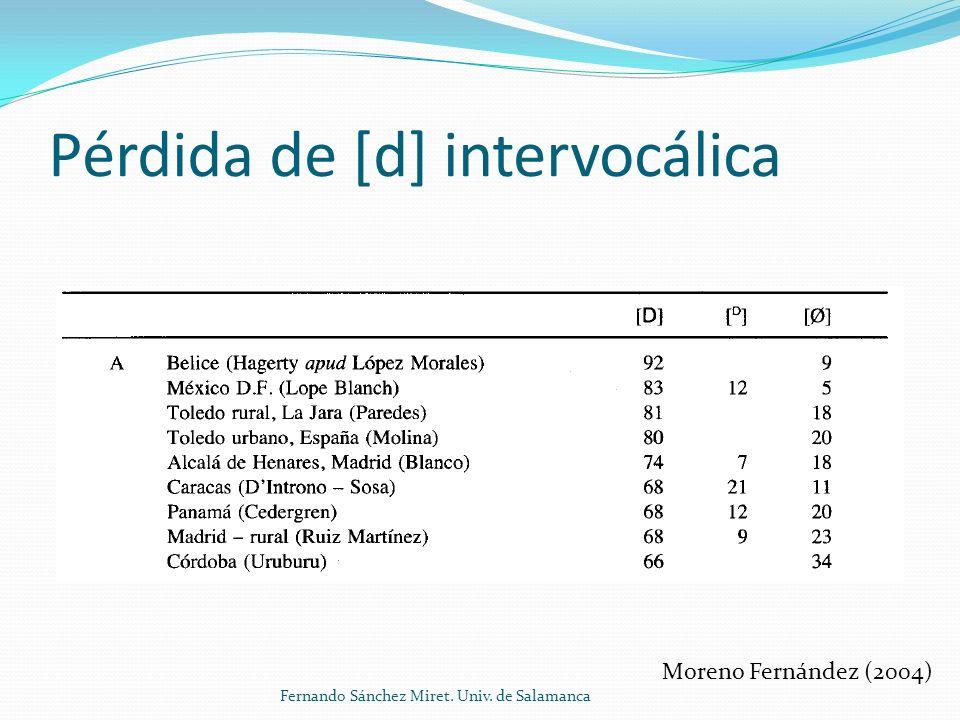 Pérdida de [d] intervocálica Moreno Fernández (2004) Fernando Sánchez Miret. Univ. de Salamanca