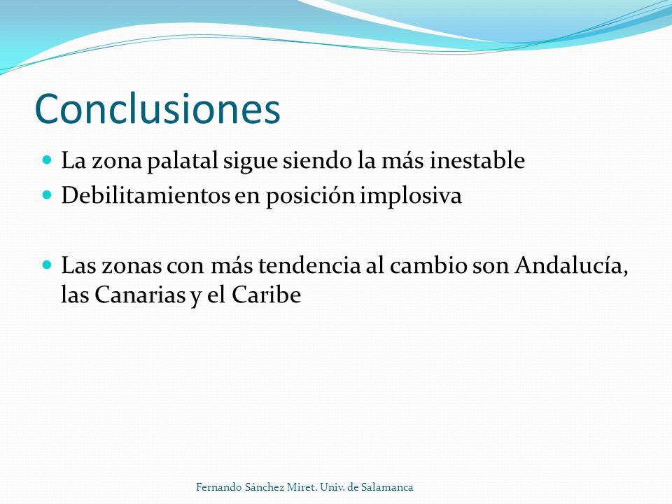 Conclusiones La zona palatal sigue siendo la más inestable Debilitamientos en posición implosiva Las zonas con más tendencia al cambio son Andalucía, las Canarias y el Caribe Fernando Sánchez Miret.