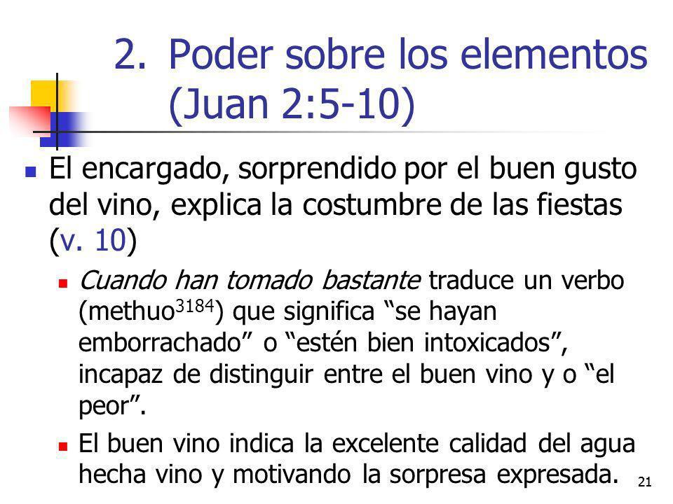 21 El encargado, sorprendido por el buen gusto del vino, explica la costumbre de las fiestas (v. 10) Cuando han tomado bastante traduce un verbo (meth