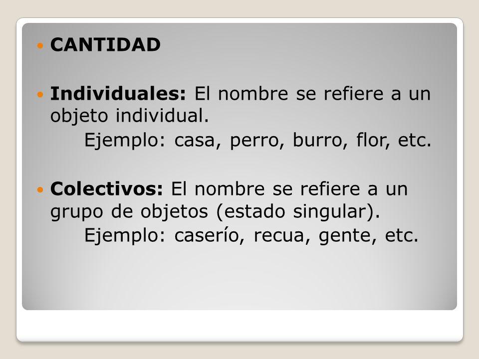 CANTIDAD Individuales: El nombre se refiere a un objeto individual. Ejemplo: casa, perro, burro, flor, etc. Colectivos: El nombre se refiere a un grup