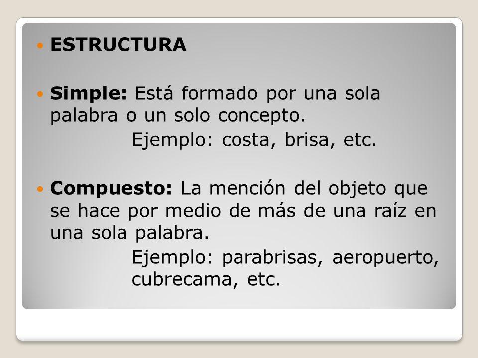 ESTRUCTURA Simple: Está formado por una sola palabra o un solo concepto. Ejemplo: costa, brisa, etc. Compuesto: La mención del objeto que se hace por