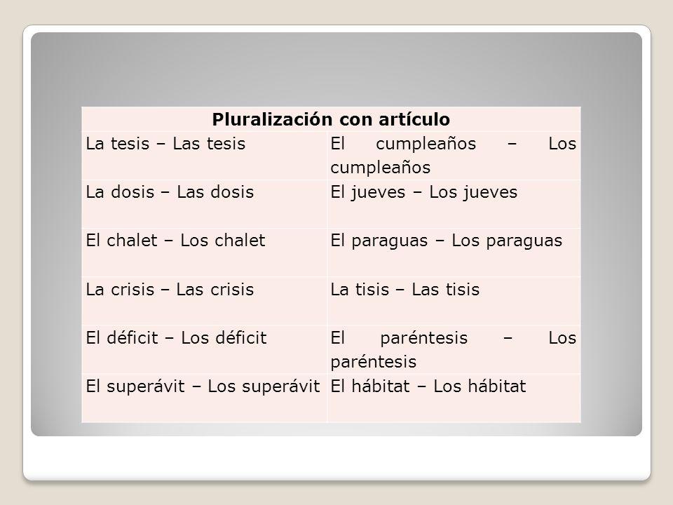 Pluralización con artículo La tesis – Las tesis El cumpleaños – Los cumpleaños La dosis – Las dosis El jueves – Los jueves El chalet – Los chalet El p