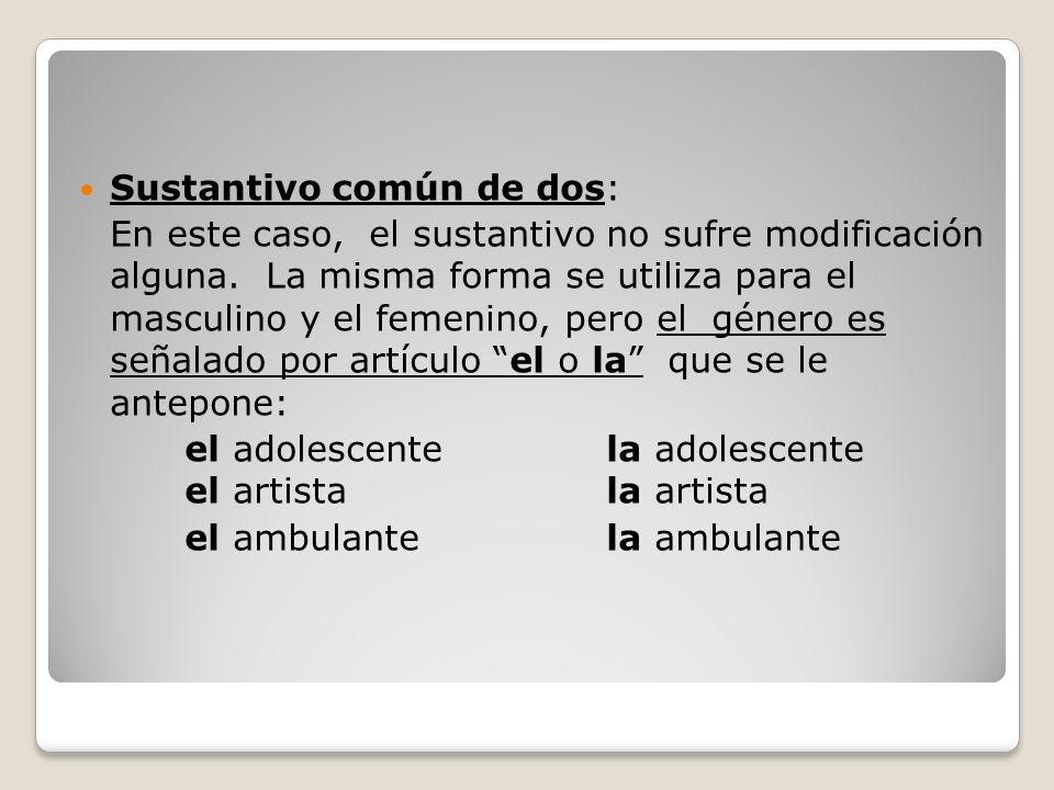 Sustantivo común de dos: En este caso, el sustantivo no sufre modificación alguna.