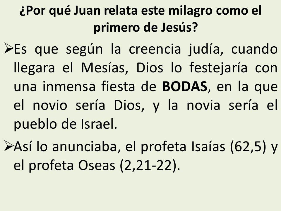 ¿Por qué Juan relata este milagro como el primero de Jesús.