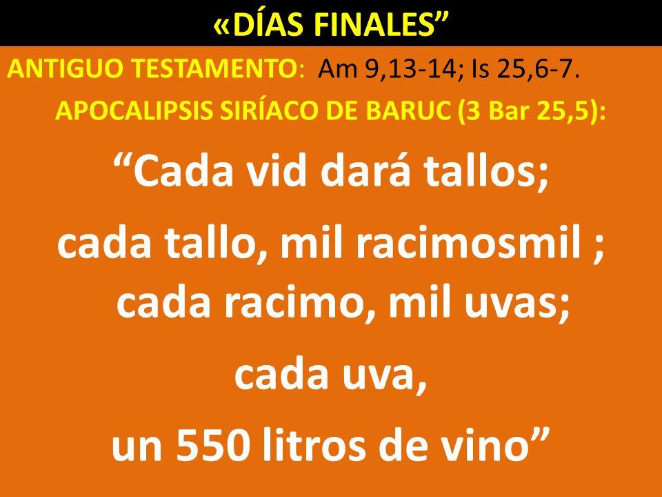 «DÍAS FINALES ANTIGUO TESTAMENTO: Am 9,13-14; Is 25,6-7.