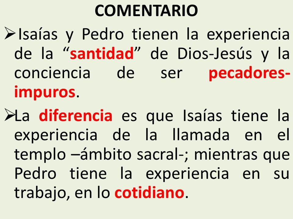 COMENTARIO Isaías y Pedro tienen la experiencia de la santidad de Dios-Jesús y la conciencia de ser pecadores- impuros.
